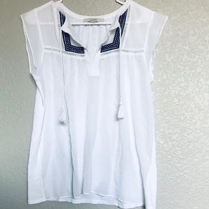 LOFT embroidered white and blue tassel blouse